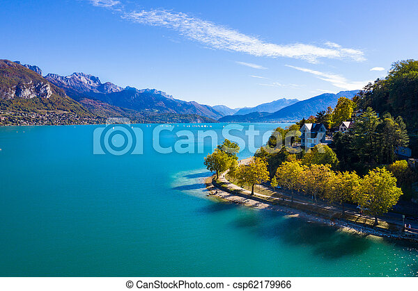 Aerial view of Annecy lake waterfront in France - csp62179966