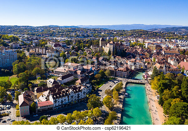 Aerial view of Annecy lake waterfront in France - csp62196421