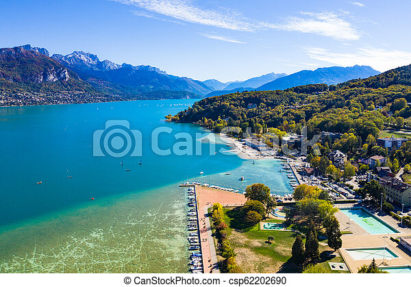 Aerial view of Annecy lake waterfront in France - csp62202690