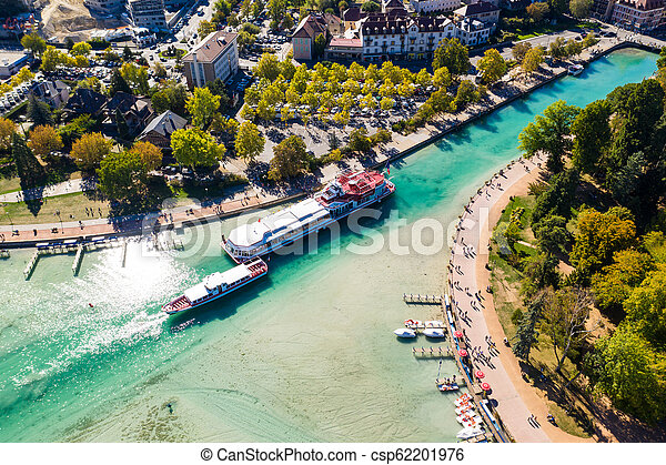 Aerial view of Annecy lake waterfront low tide level due to the drought in France - csp62201976