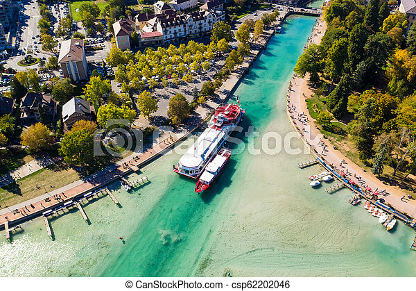 Aerial view of Annecy lake waterfront low tide level due to the drought in France - csp62202046