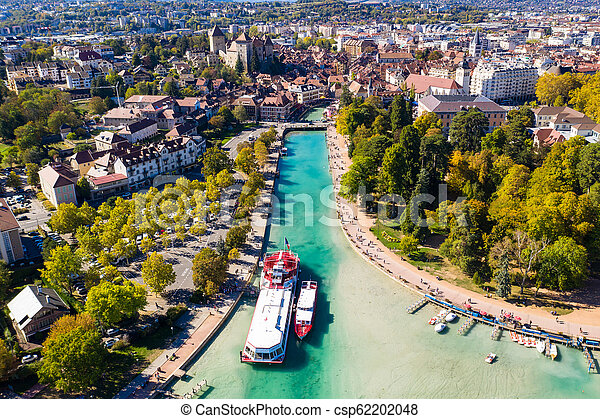 Aerial view of Annecy lake waterfront low tide level due to the drought in France - csp62202048