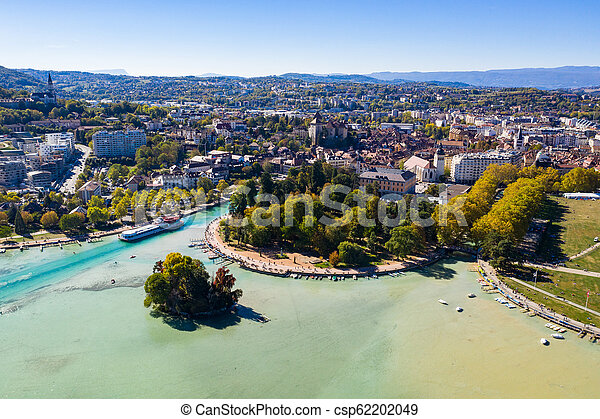 Aerial view of Annecy lake waterfront low tide level due to the drought in France - csp62202049