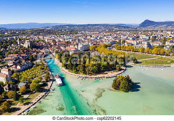 Aerial view of Annecy lake waterfront low tide level due to the drought in France - csp62202145