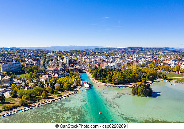 Aerial view of Annecy lake waterfront low tide level due to the drought in France - csp62202691