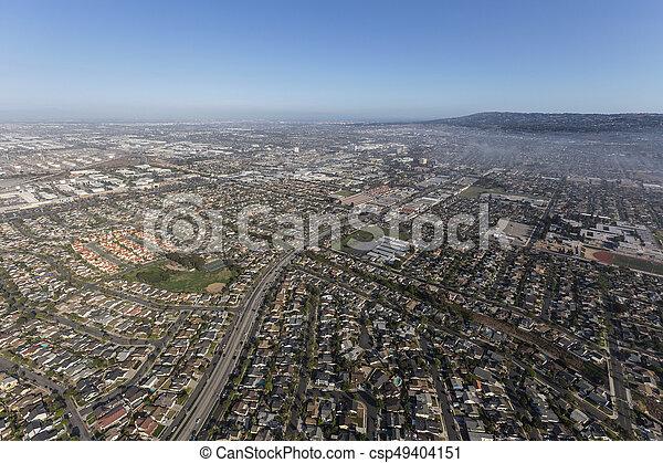 Aerial view of Anza Ave near Del Amo Blvd in Torrance California - csp49404151