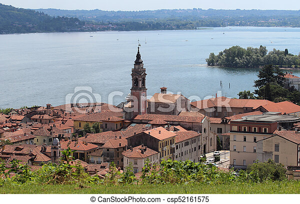 aerial view of Arona town, Italy - csp52161575