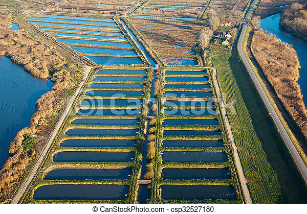 Aerial view of autumn lake - csp32527180