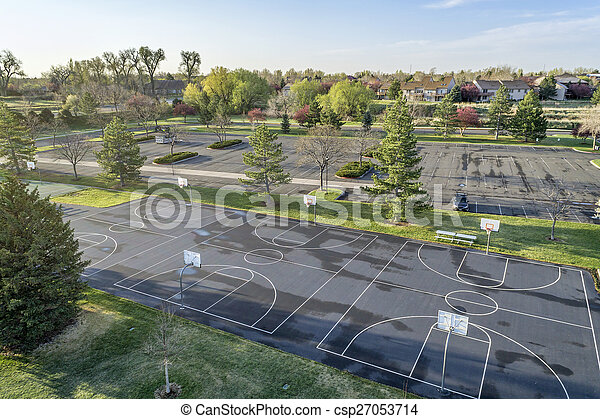 aerial view of basketball courts and park - csp27053714