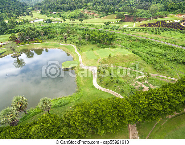 Aerial view of beautiful golf course - csp55921610
