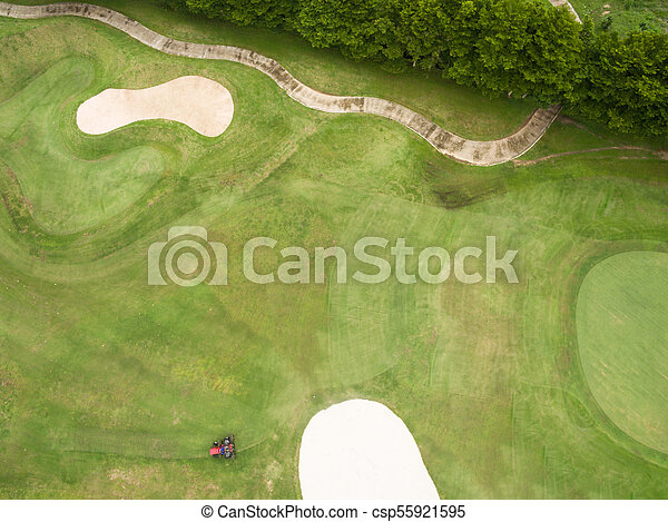 Aerial view of beautiful golf course - csp55921595