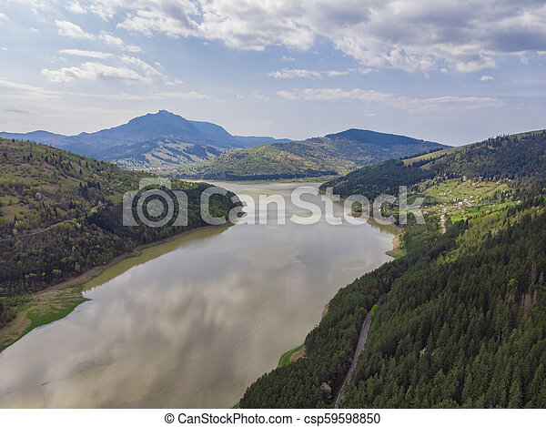aerial view of Bicaz lake in Romania - csp59598850
