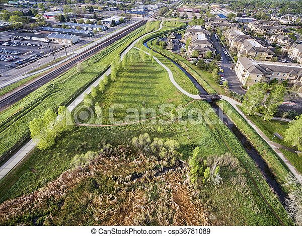 aerial view of bike trails - csp36781089