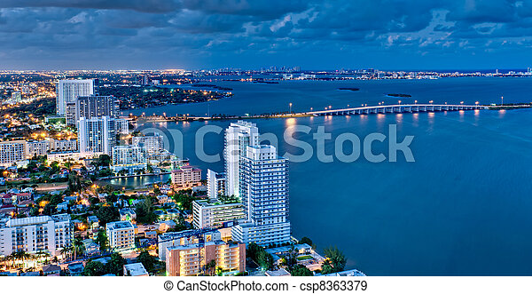 Aerial View of Biscayne Bay at Night - csp8363379