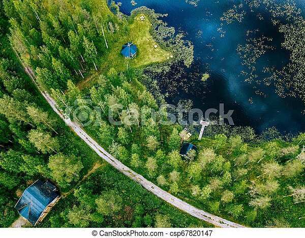 Aerial view of blue lake with green forests in Finland. Wooden house, sauna, boats and fishing pier by the lake. - csp67820147