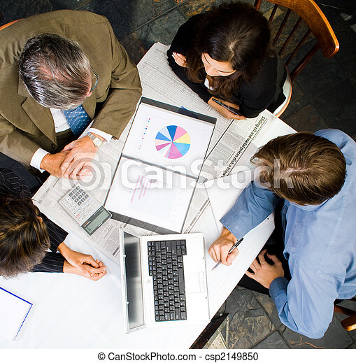 aerial view of business meeting - csp2149850
