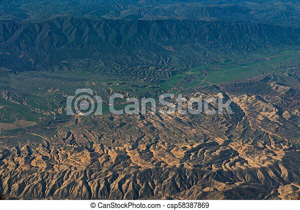 aerial view of California San Andreas - csp58387869