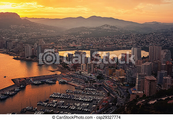 Aerial view of Calpe, Costa Blanca at sunset - csp29327774
