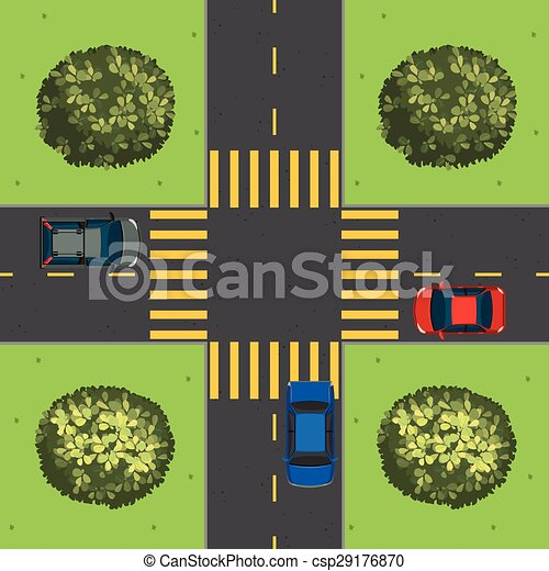 Aerial view of cars at intersection illustration.