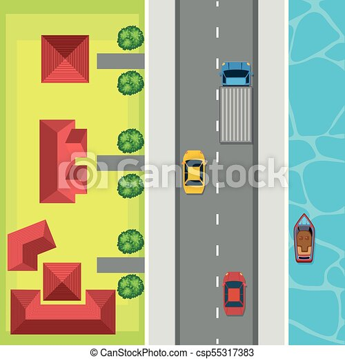 Aerial view of cars on the road - csp55317383