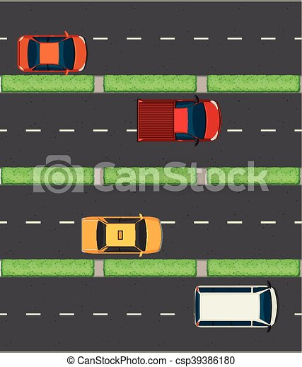 Aerial view of cars on the roads - csp39386180