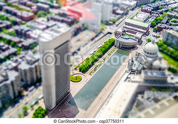 Aerial View of Central Boston, USA. Tilt-shift effect applied - csp37750311