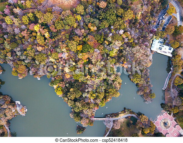 Aerial view of Central park lake in autumn - csp52418418