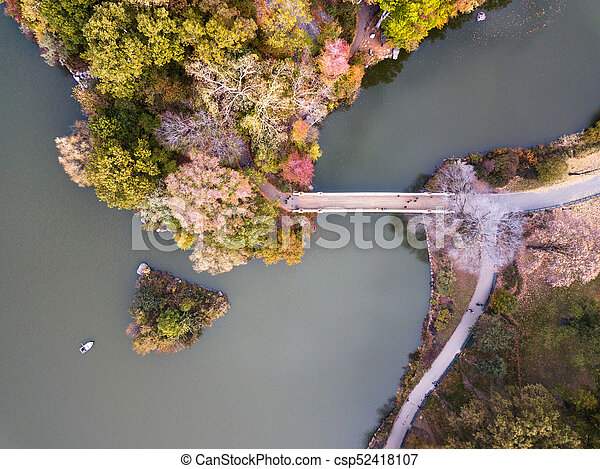 Aerial view of Central park lake in autumn - csp52418107