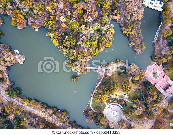 Aerial view of Central park lake in autumn - csp52418333