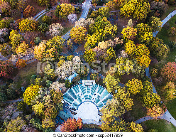 Aerial view of Central park theater in autumn - csp52417939