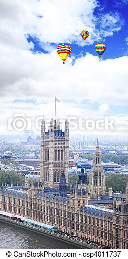 Aerial view of city of London - csp4011737