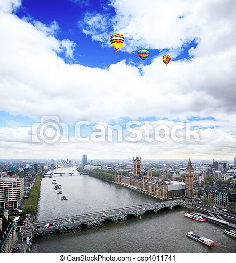 Aerial view of city of London - csp4011741