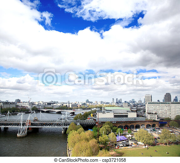 Aerial view of city of London - csp3721058
