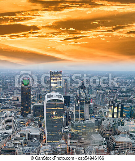 Aerial view of City of London skyline - csp54946166