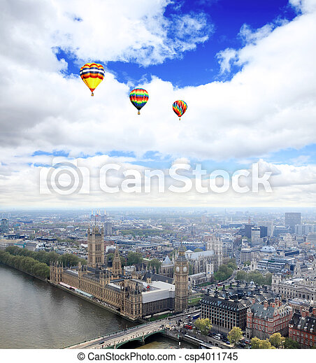 Aerial view of city of London - csp4011745
