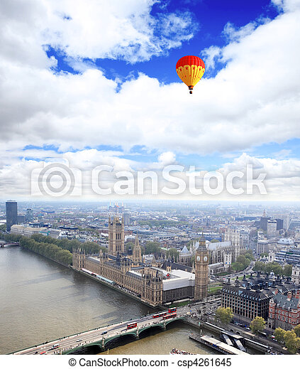 Aerial view of city of London - csp4261645