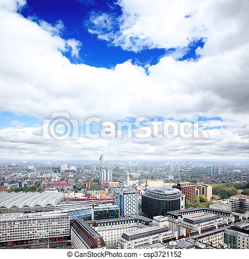 Aerial view of city of London - csp3721152
