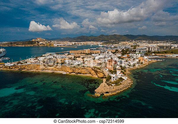Aerial view of city port. - csp72314599