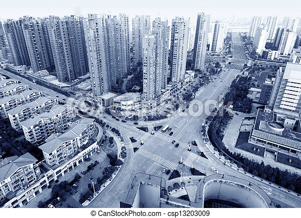 Aerial view of city - csp13203009