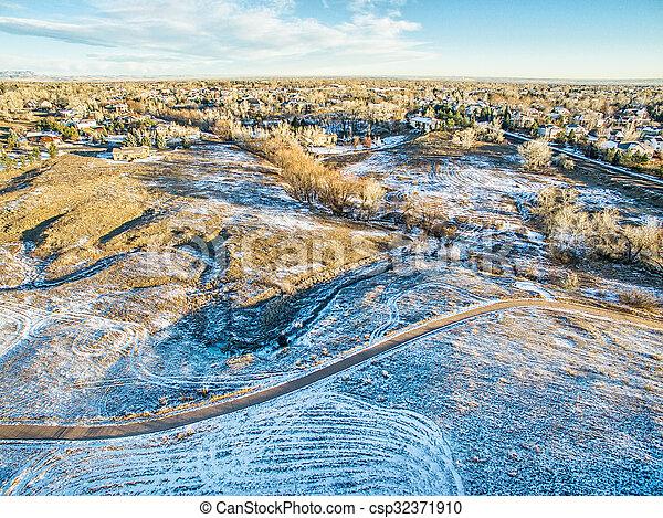 aerial view of Colorado foothills - csp32371910