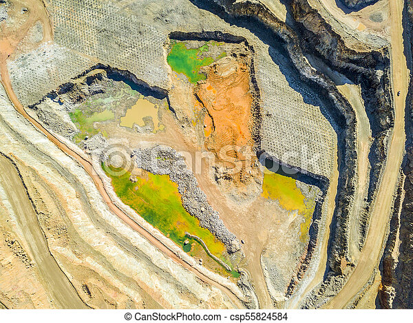 Aerial view of colorful, open pit mine - csp55824584