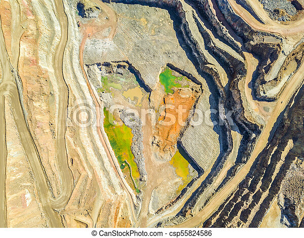 Aerial view of colorful, open pit mine - csp55824586