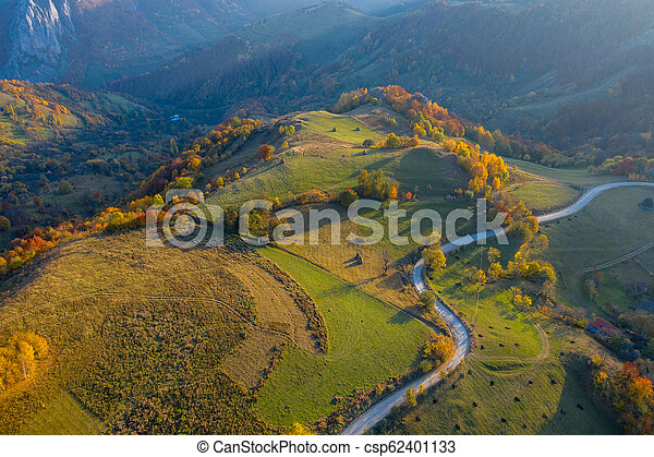 Aerial view of countryside road at autumn - csp62401133