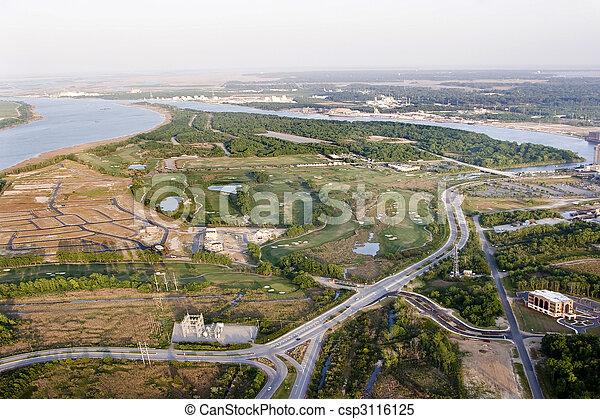 aerial view of development - csp3116125