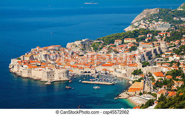aerial view of Dubrovnik Old town - csp45572062