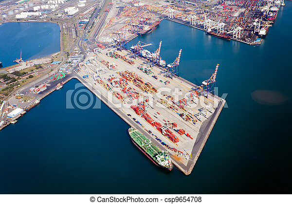 aerial view of durban harbour, south africa - csp9654708