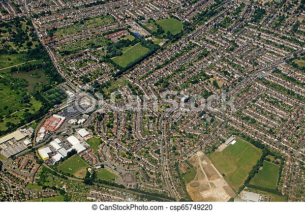 Aerial View of Elmers End and Beckenham, South London - csp65749220