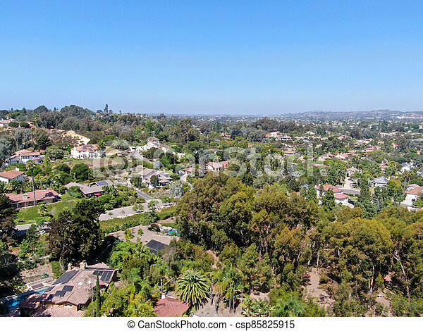 Aerial view of Encinitas town with large villa and swimming pool - csp85825915