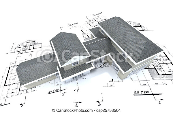Aerial view of expensive house on blueprints - csp25753504