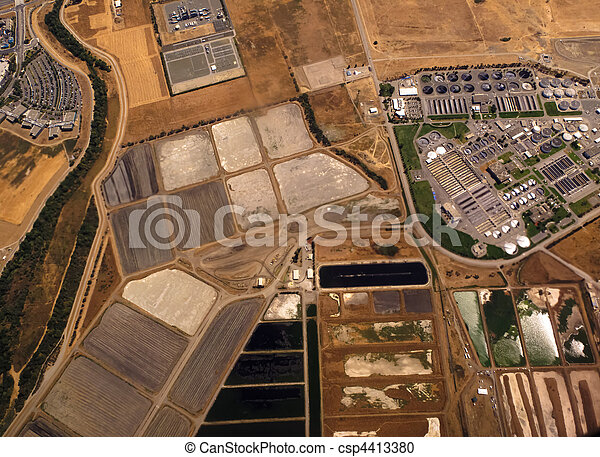 Aerial View of Fields and Industry - csp4413380
